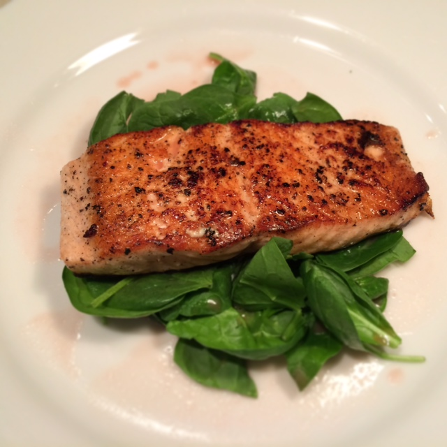 : Pan-seared salmon with spinach and pink grapefruit pinot noir sauce ...