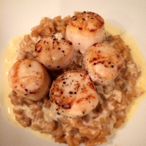 Scallops with champagne vanilla butter sauce.