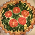 Yummy quiche with spinach, cheese, mushrooms & tomatoes. Crust was a pate brisee.