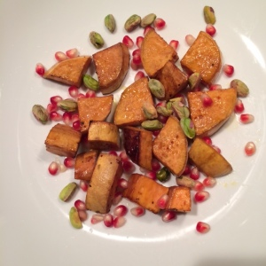 Toss on the pomegranate and pistachios